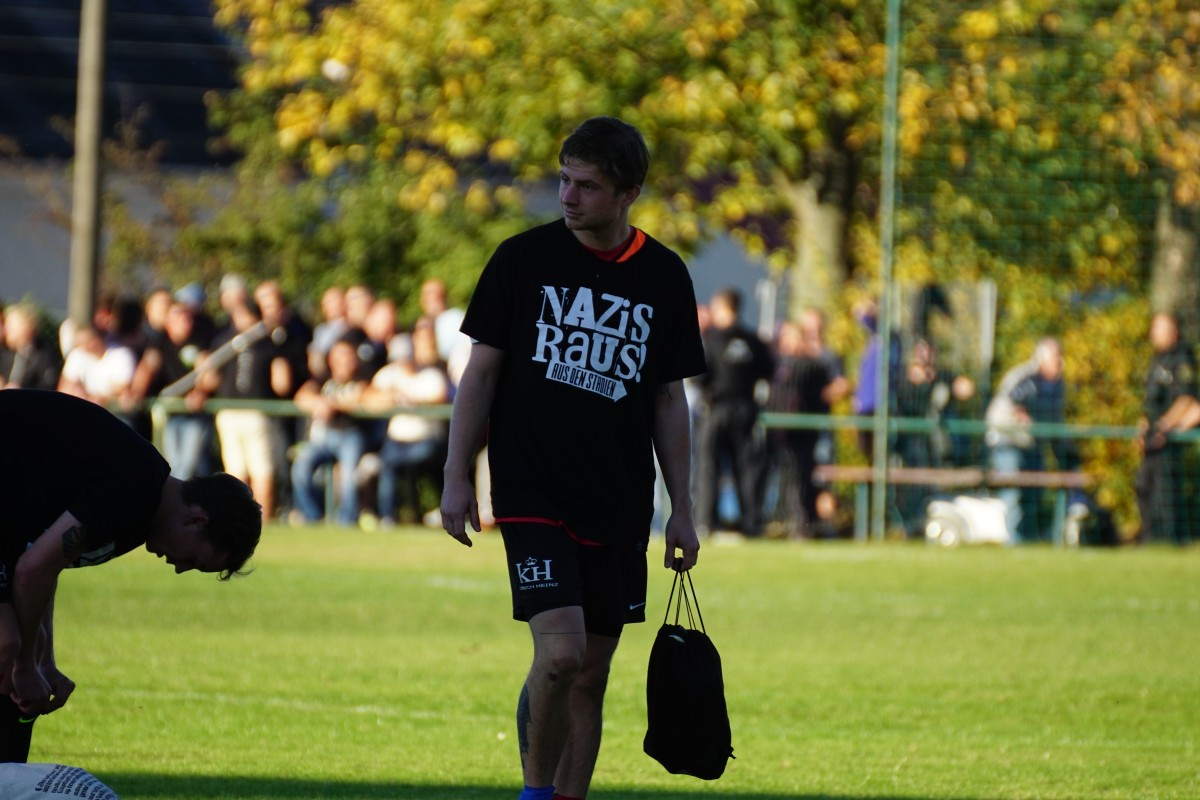 Football player after Schlidau game in Antifa-T-shirt